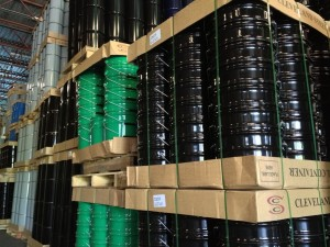 Nested steel pails on tray and pallet