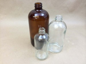 Flint and Amber Boston Round Glass Bottles