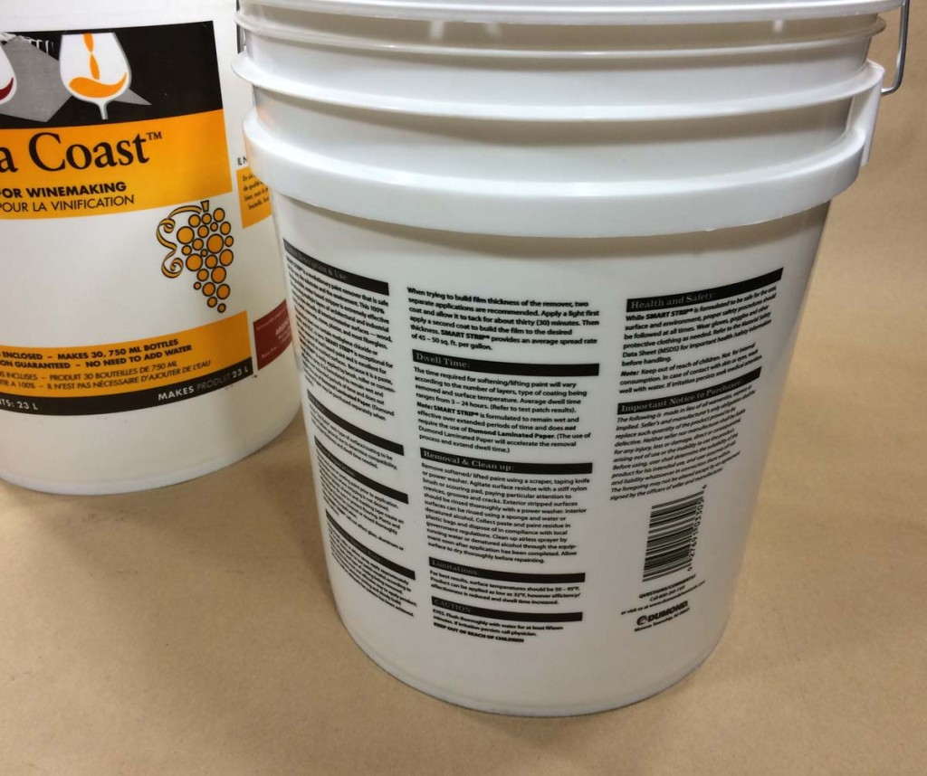 Usage instructions and warning printed on plastic pails